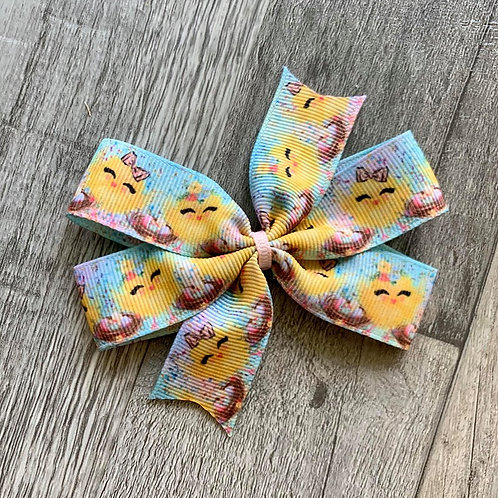 Watercolor Chicks Mini Pinwheel Bow