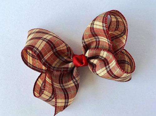 Fall plaid burlap Loopy Bow