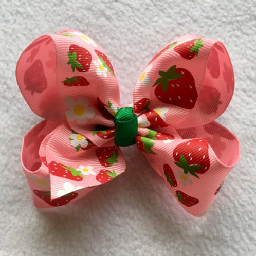 Strawberries Loopy Bow