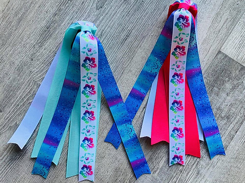 Watercolor Hibiscus Streamer Pony Tail