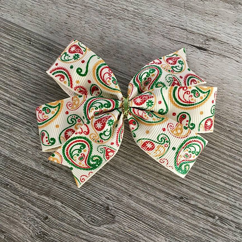 SALE Christmas Paisley mini pinwheel bow