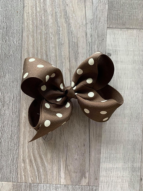 SALE brown with white dots Loopy Bow
