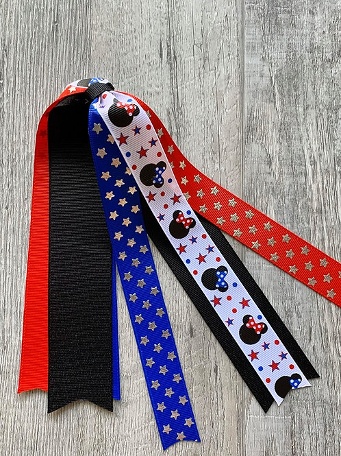 4th of July Minnie streamer bow