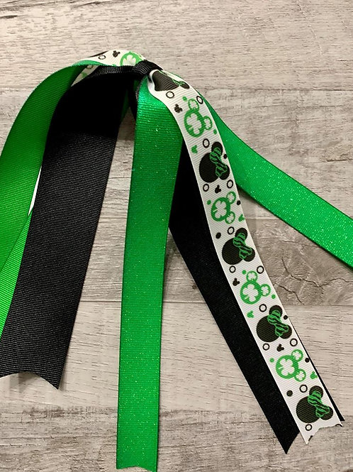 St. Patrick's Day Mickey & Minnie streamer bow