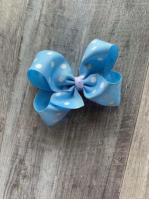 SALE blue with white dots Loopy Bow
