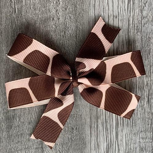 Giraffe print Mini Pinwheel Bow