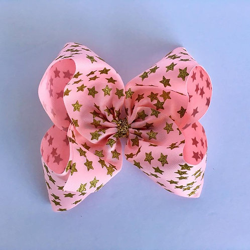 Gold Glitter Stars on pink Texas sized Loopy Bow