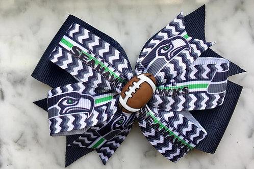 Seattle Seahawks double pinwheel bow