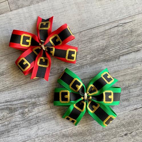 Santa Belt mini pinwheel bow