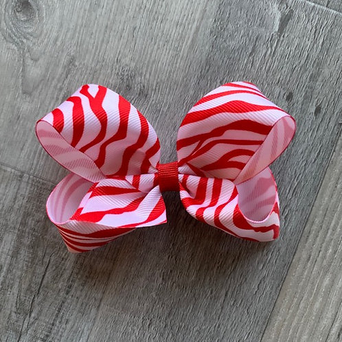 SALE red zebra Loopy Bow