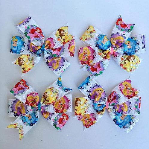 Floral Princesses Mini Pinwheel Bow