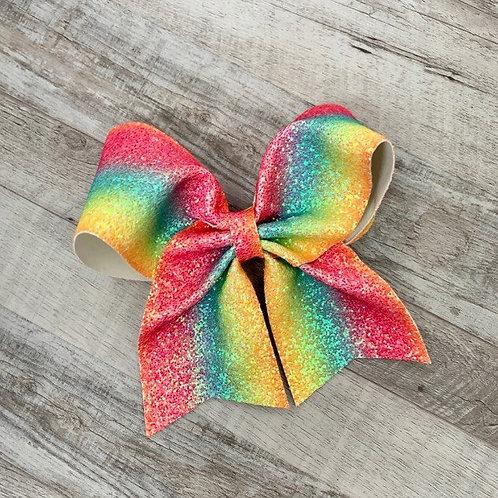 Rainbow Chunky Glitter Cheer Bow