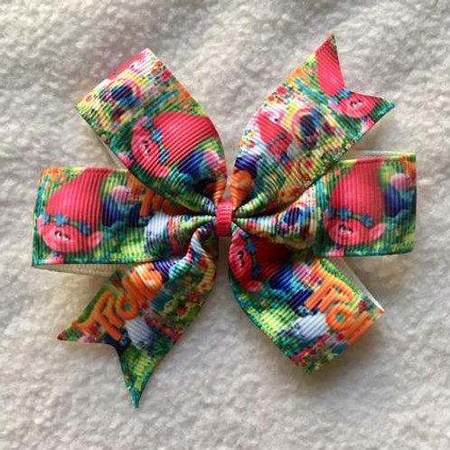 Troll hair mini pinwheel bow