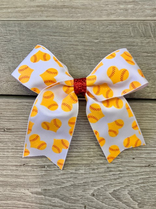 Softball Hearts Cheer Bow