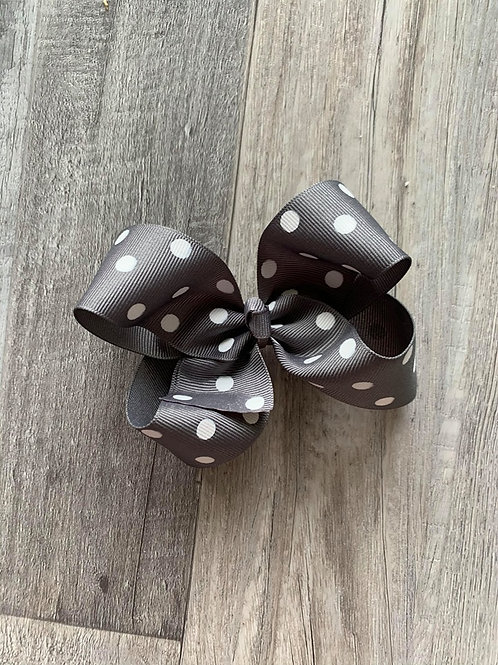 SALE grey with white dots Loopy Bow