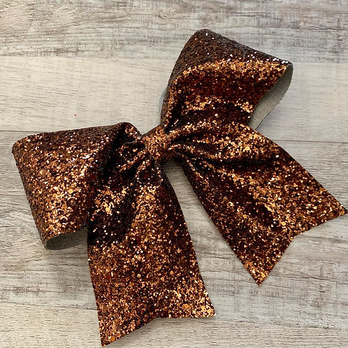 Brown Chunky Glitter Cheer Bow