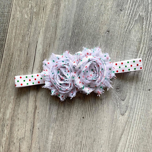 Christmas dots Shabby Flowers Headband