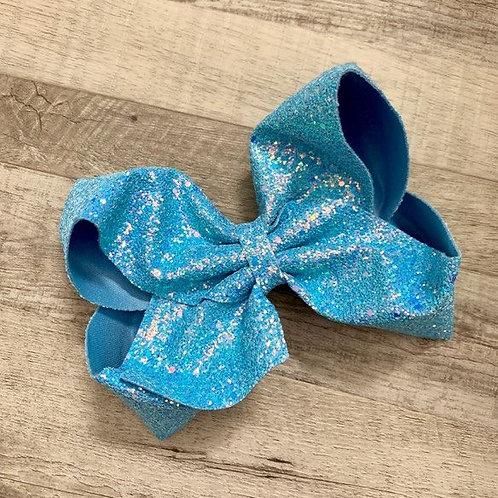 Ice Blue Chunky Glitter Texas sized Loopy Bow