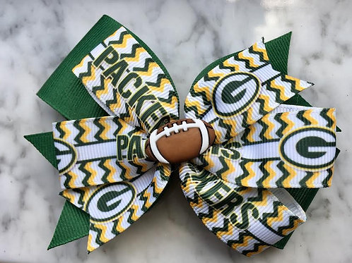 Green Bay Packers double pinwheel bow