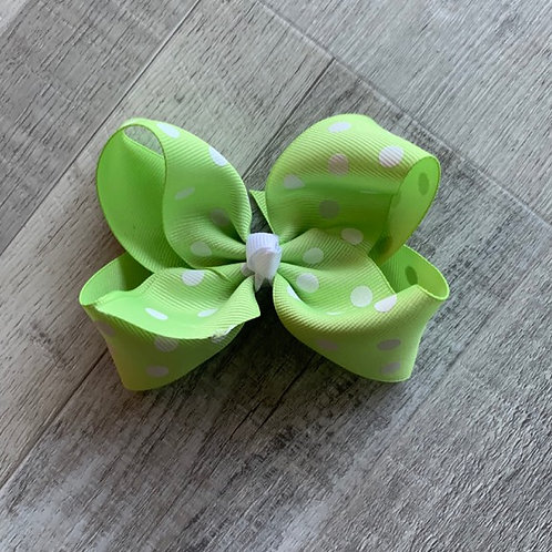 SALE light green with white dots Loopy Bow