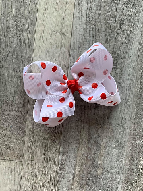 SALE white with red dots Loopy Bow