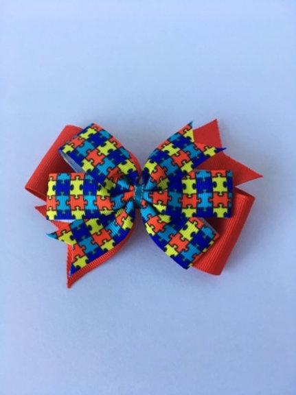 Autism Double Pinwheel Bow