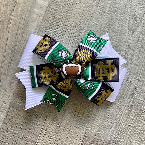 Notre Dame Fighting Irish double pinwheel bow