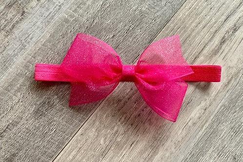Bright Pink Sheer Sparkle Baby Headband