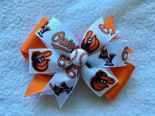 Baltimore Orioles double pinwheel bow