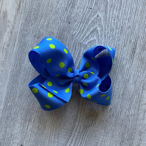 SALE blue with green dots Loopy Bow