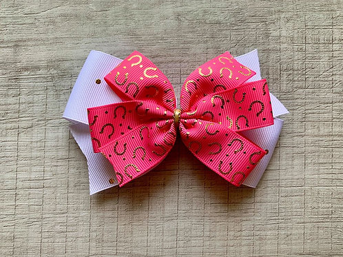Pink Horseshoes double pinwheel bow