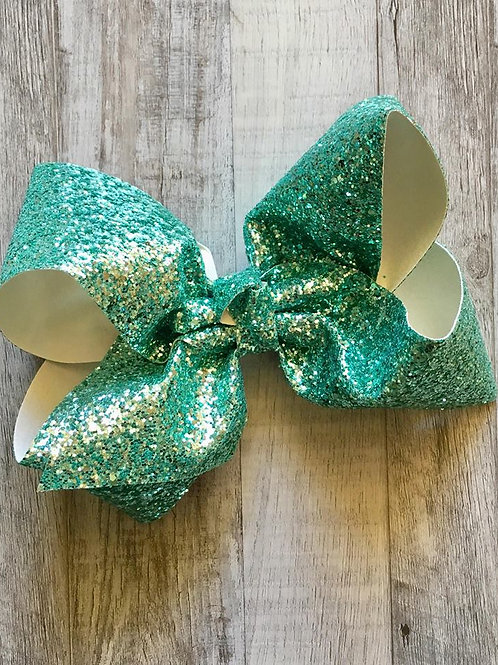 Chunky Glitter Sea Green Texas sized Loopy Bow