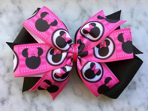 Minnie Mouse Silhouette Double Pinwheel Bow