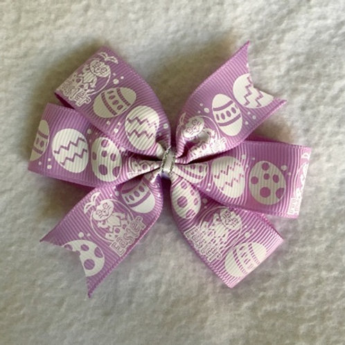 Purple Eggs Mini Pinwheel Bow