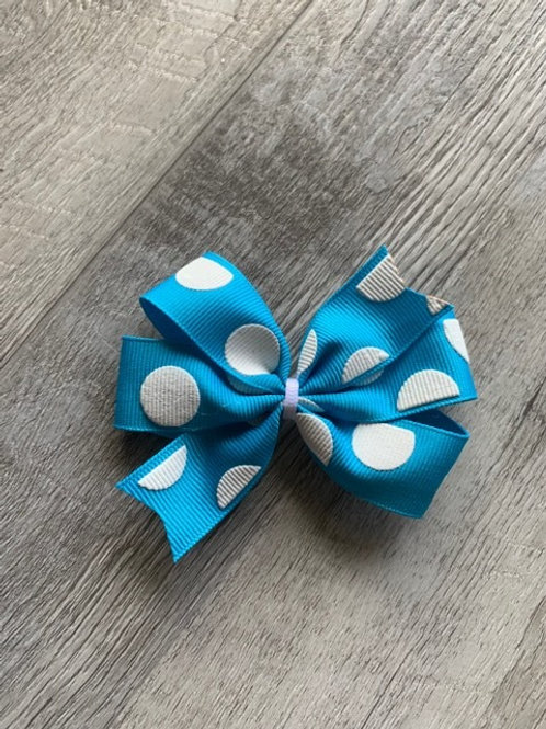 SALE turquoise with white dots mini pinwheel