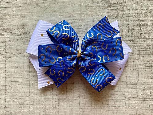 Blue Horseshoes double pinwheel bow