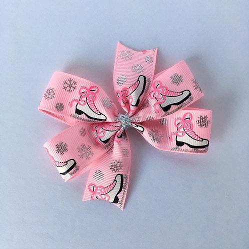 Ice Skates mini pinwheel bow
