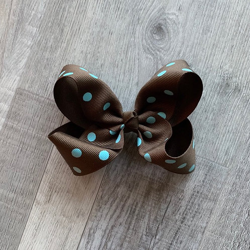 SALE brown with teal dots Loopy Bow