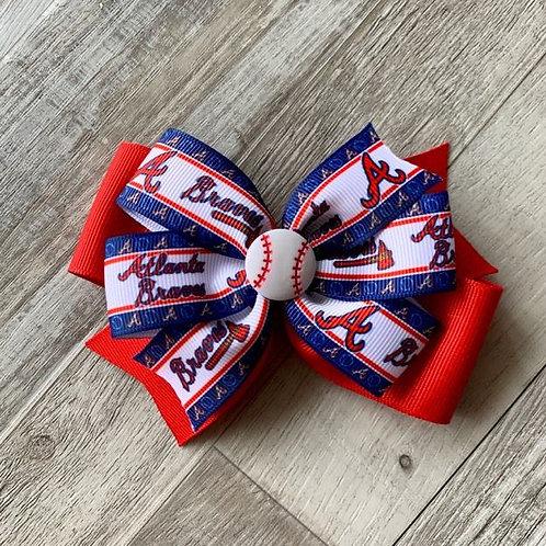Atlanta Braves double pinwheel bow