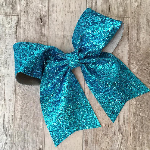 Turquoise Chunky Glitter Cheer Bow