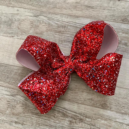 Red Chunky Glitter Texas sized Loopy Bow