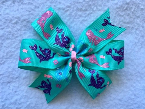 Mermaids Mini Pinwheel Bow