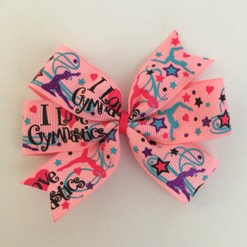 I love Gymnastics pink mini pinwheel bow