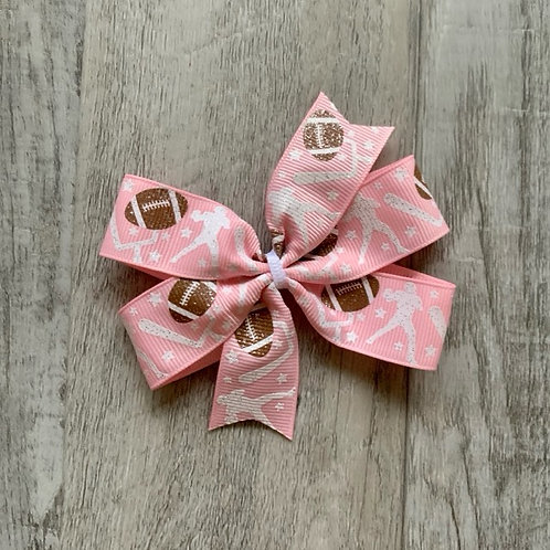 Pink Football mini pinwheel bow