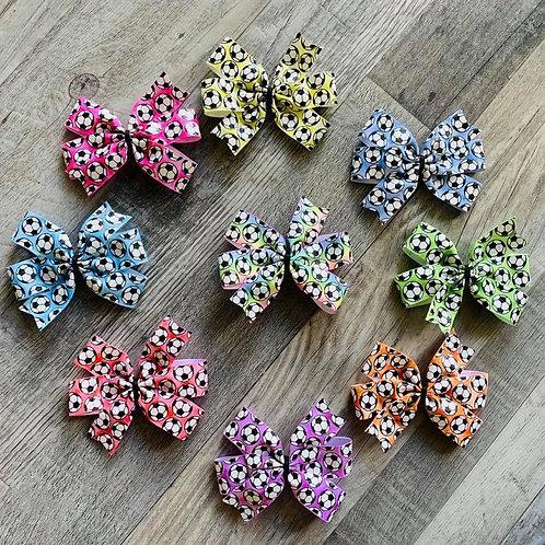 Colorful Soccer mini pinwheel bow