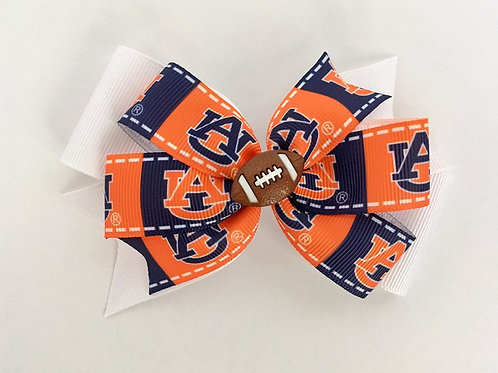 Auburn Tigers orange/blue double pinwheel bow