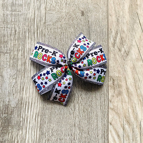 Pre-K Rocks mini pinwheel bow