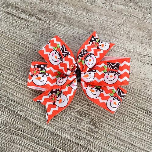 Snowman mini pinwheel bow