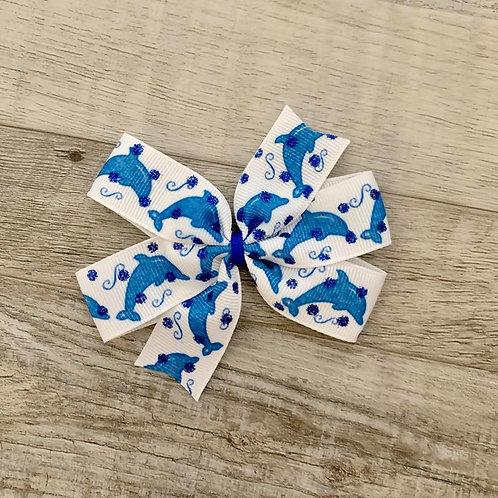 Blue Dolphins Mini Pinwheel Bow