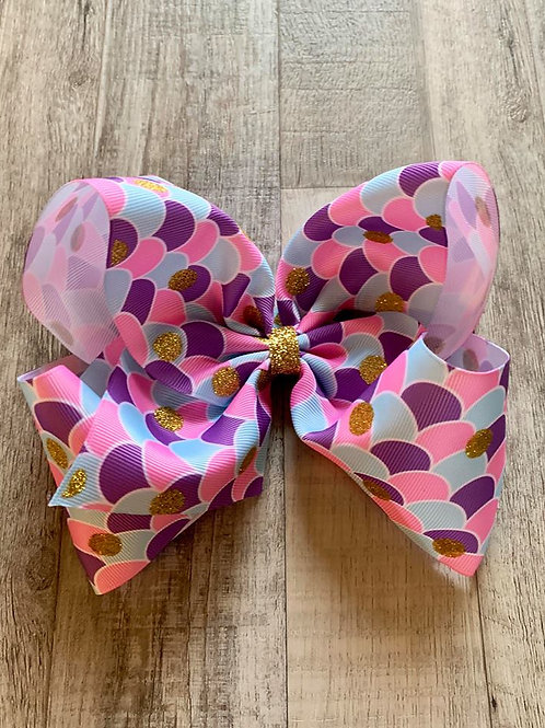 Mermaid scales Texas sized Loopy Bow